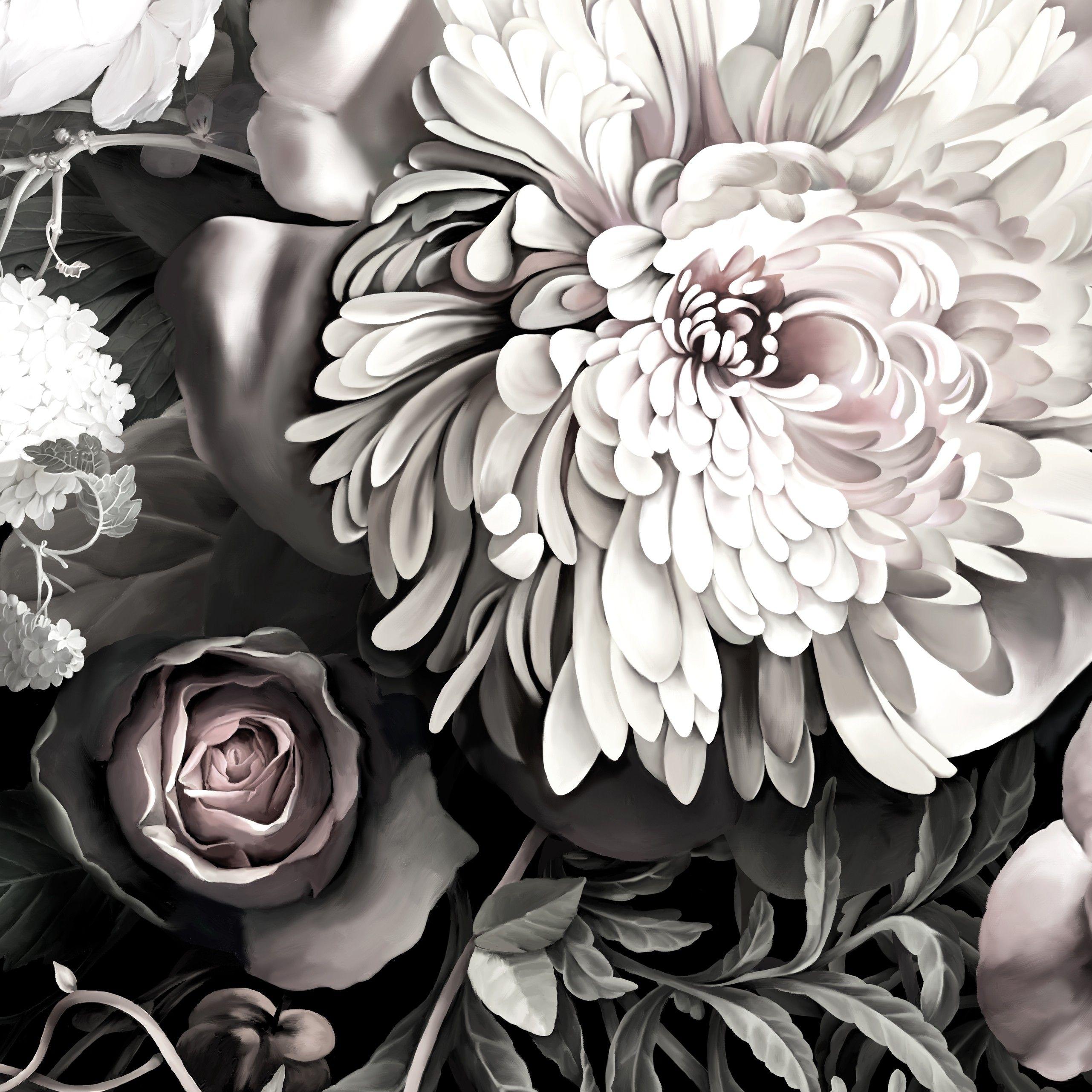Black floral print wallpaper dark floral wallpaper by ellie cashman - Dark Floral Ii Black Desaturated Sample Floral Wallpaper Samples By Ellie Cashman Design