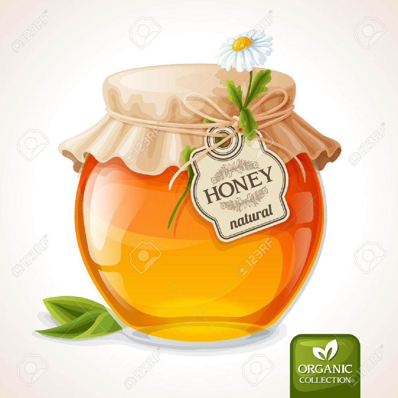 Natural Sweet Golden Organic Honey In Glass Jar With Tag And Paper Cover Vector Illustration Affiliate Organic Ho Envasado De Miel Miel Diseno De Comida