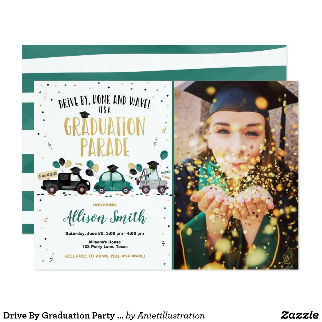 Drive by graduation party drive through green invitation
