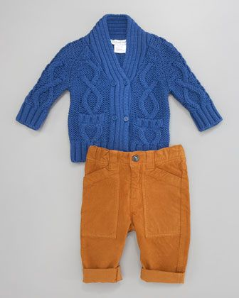 Stephen's baby....Chunky Knit Cardigan & Velvet Corduroy Pants by Little Marc Jacobs at Neiman Marcus.