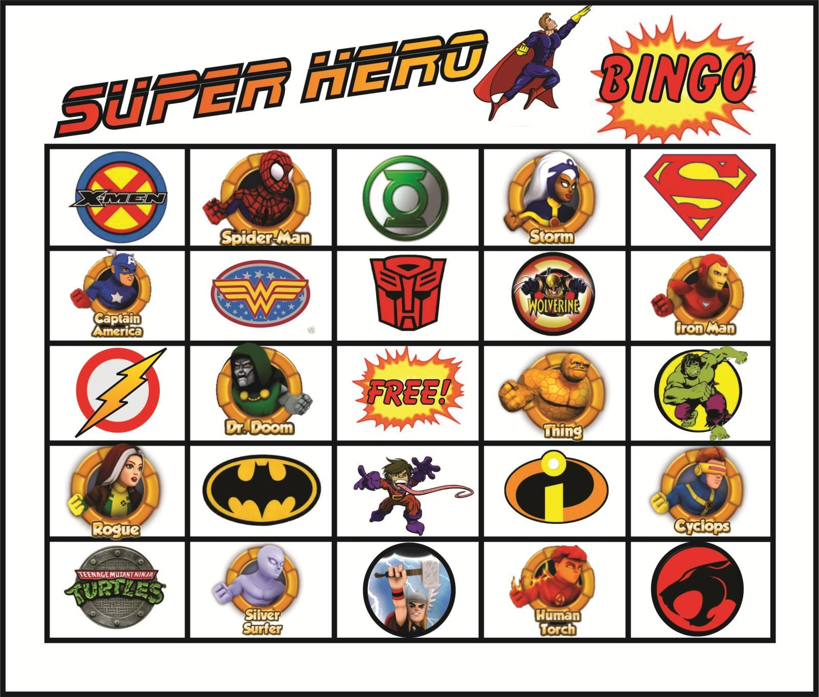 superhero bingo gameboard printed matching cards for each square
