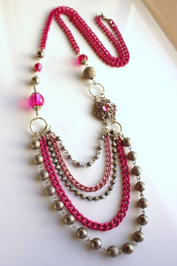 Multi Chain Hot Pink Long Beaded Necklace Handmade Ooak