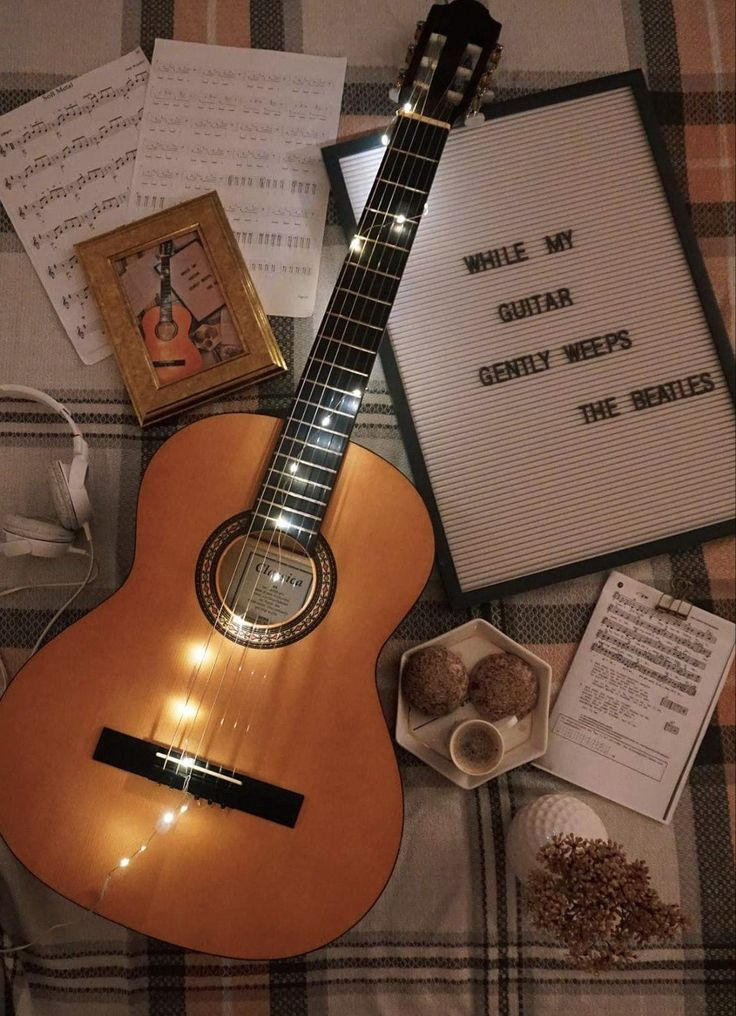 Flatlay Guitar Acoustic guitar photography