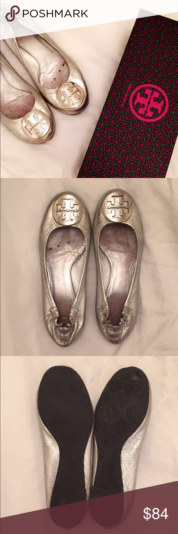 Tory Burch Reva Flats Silver flats in good condition. Box is not the original box Tory Burch Shoes Flats & Loafers