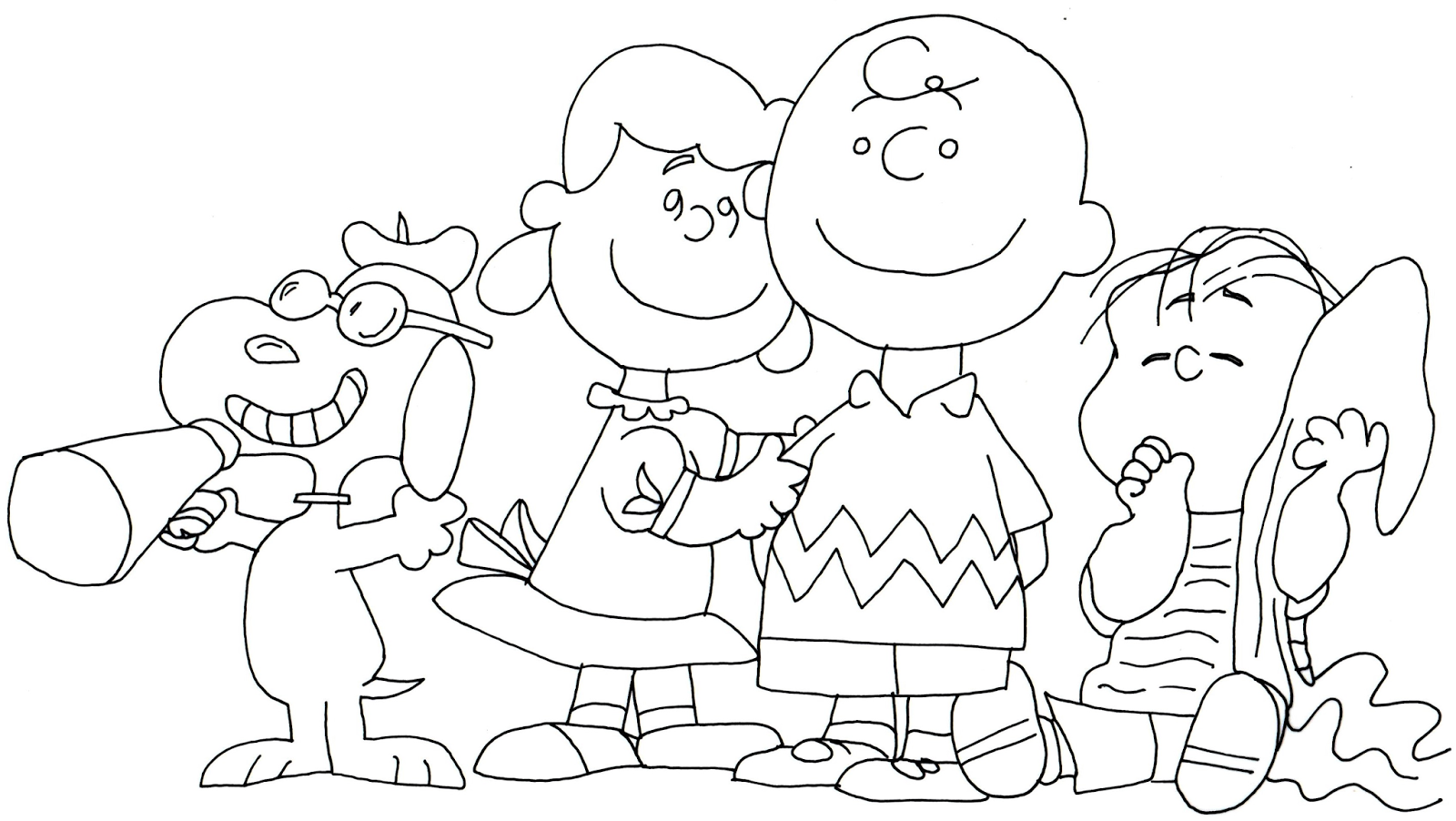 Free printable coloring page for Snoopy, Lucy, Charlie Brown and ...