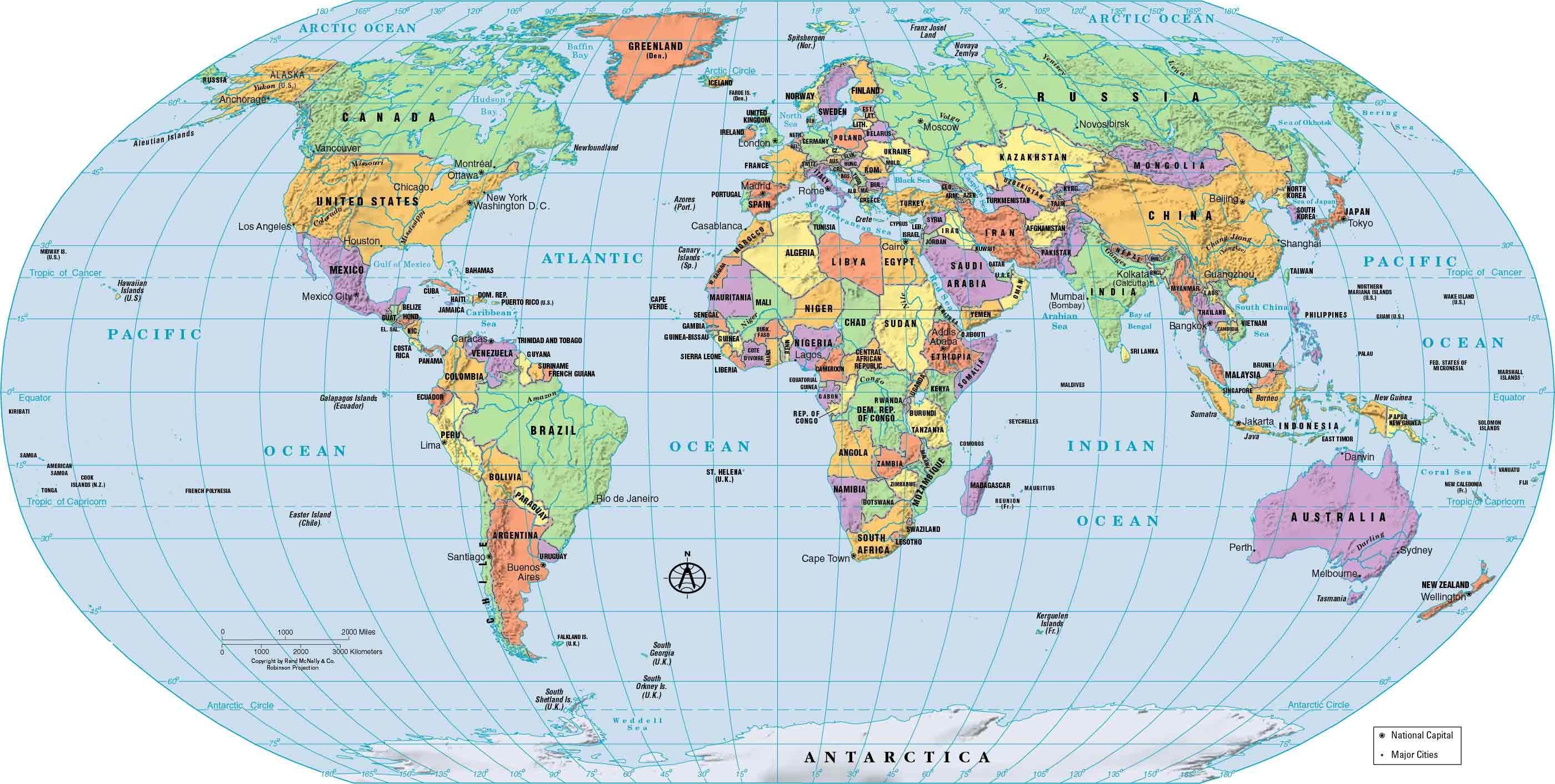 Political World Map Continents Countries And Of With Atlas