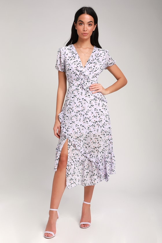 85ad9592554c Lulus | Petals and Poetry Lavender Floral Print Ruffled Midi Dress | Size