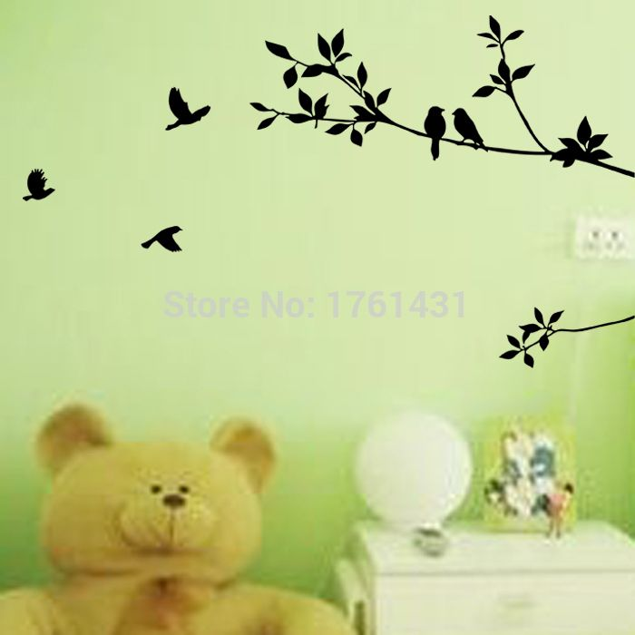 Free shipping: Black Bird Tree Branch Wall Stickers DIY Art Home ...