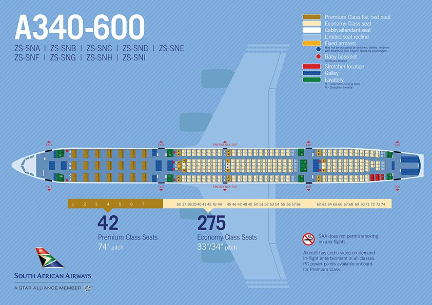 Saa Airbus A340 600 Seatmap Airbus South African Airways