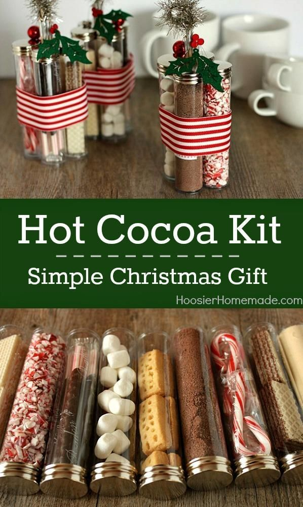 This Hot Cocoa Kit Is Not Only A Simple Christmas Gift Idea It S Also A Delicious Holiday Easy Diy Christmas Gifts Homemade Christmas Gifts Homemade Christmas