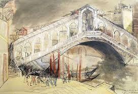 Ponte Rialto, pen & ink with crayon and watercolour, venice - Josef Lebovic Gallery