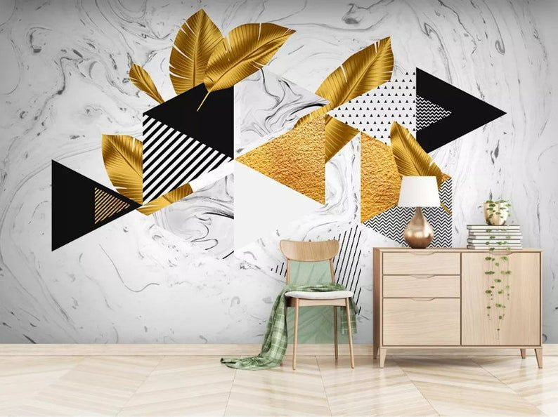 3d Abstract Feometric Figure Gold Foil Material Wallpaper Etsy Wallpaper Abstract Mural