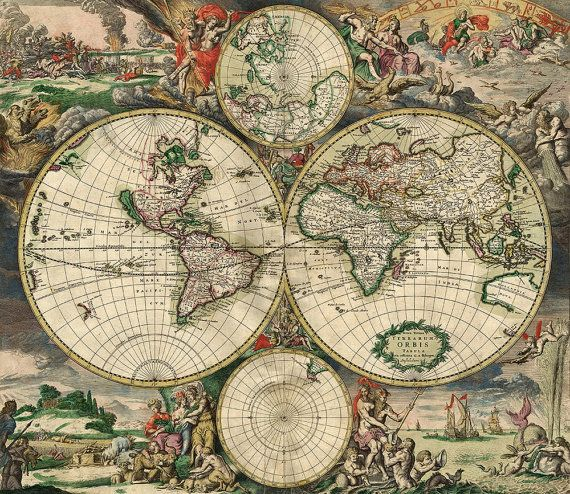 Old world map 17th century download scan of an old original map old world map 17th century download scan of an old original map of the world instant download high resolution jpg gumiabroncs Gallery