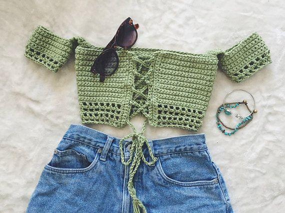 Parte superior del tubo de hombro  Festival Top  Crochet Crop Top