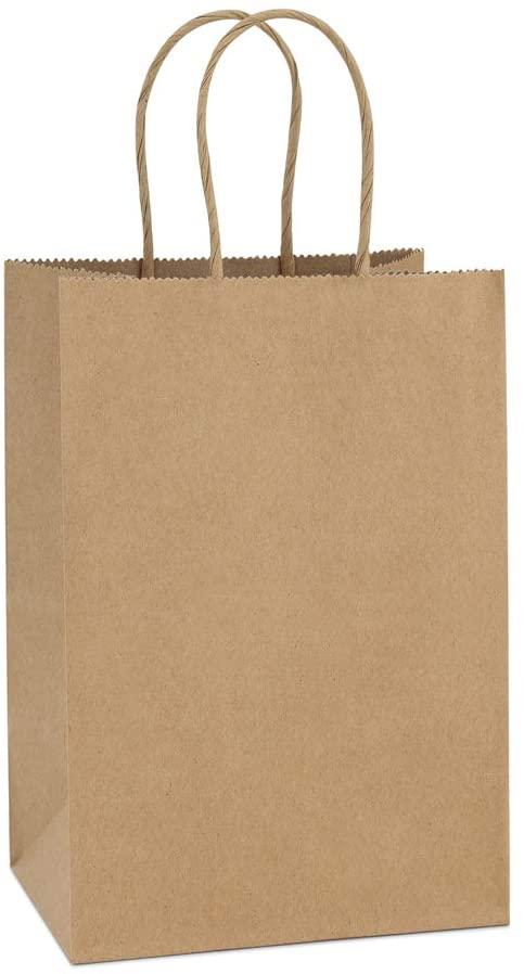 Amazon Com Bagdream Kraft Paper Bags 100pcs 5 25x3 75x8 Inches Small Paper Gift Bags With Handles Bulk Paper Paper Gift Bags Brown Paper Bag Small Paper Bags