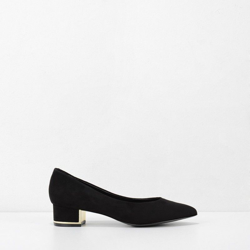 f42cc11c5a02 Pointed Covered Pumps - Black - Heels - Shoes