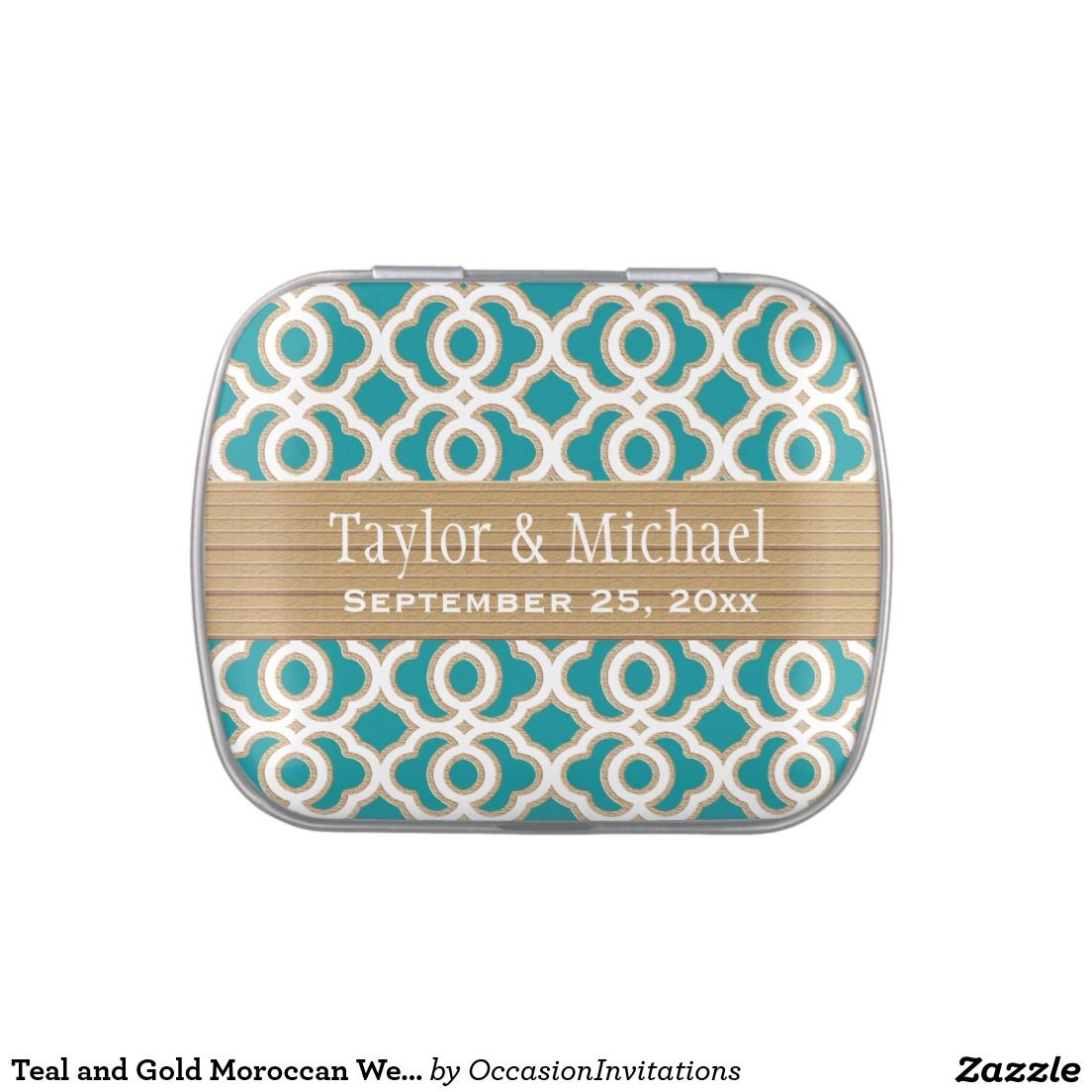 Teal and Gold Moroccan Wedding Favor Jelly Belly Tin | Moroccan ...