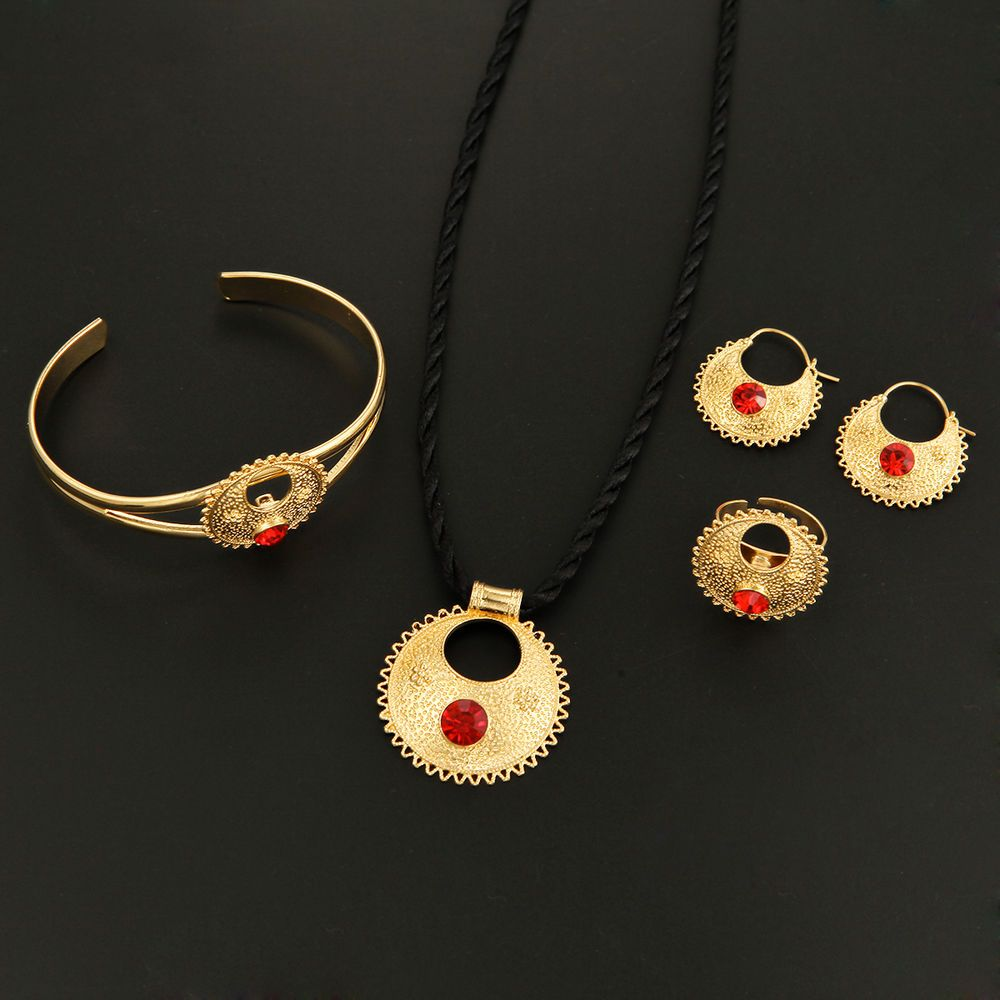 Cute Rhinestone Ethiopian Jewelry 24K Gold African Ethiopian Wedding