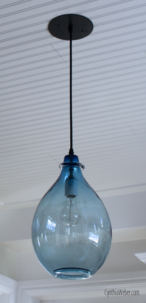 glass tt blue hanging pendant lights small