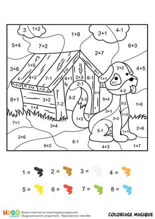 Coloriage magique CE1 : une niche et un chien en 2020 | Coloriage magique ce1, Coloriage magique ...