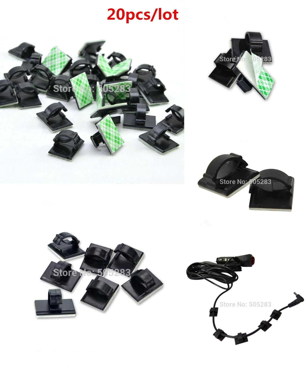 [Visit to Buy] 20pcs Mini Cable Clip Holder Organizer Cord Cable Fixed Seat  Cable