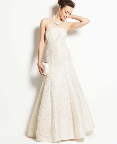 Jacquard Strapless Wedding Dress   Ann Taylor