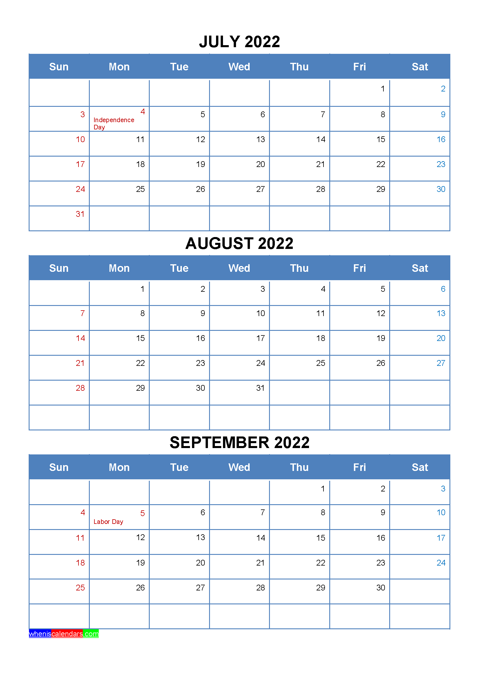 Moon Calendar September 2022.July August September 2022 Calendar With Holidays Four Quarters January February March Printable Calendar July April May
