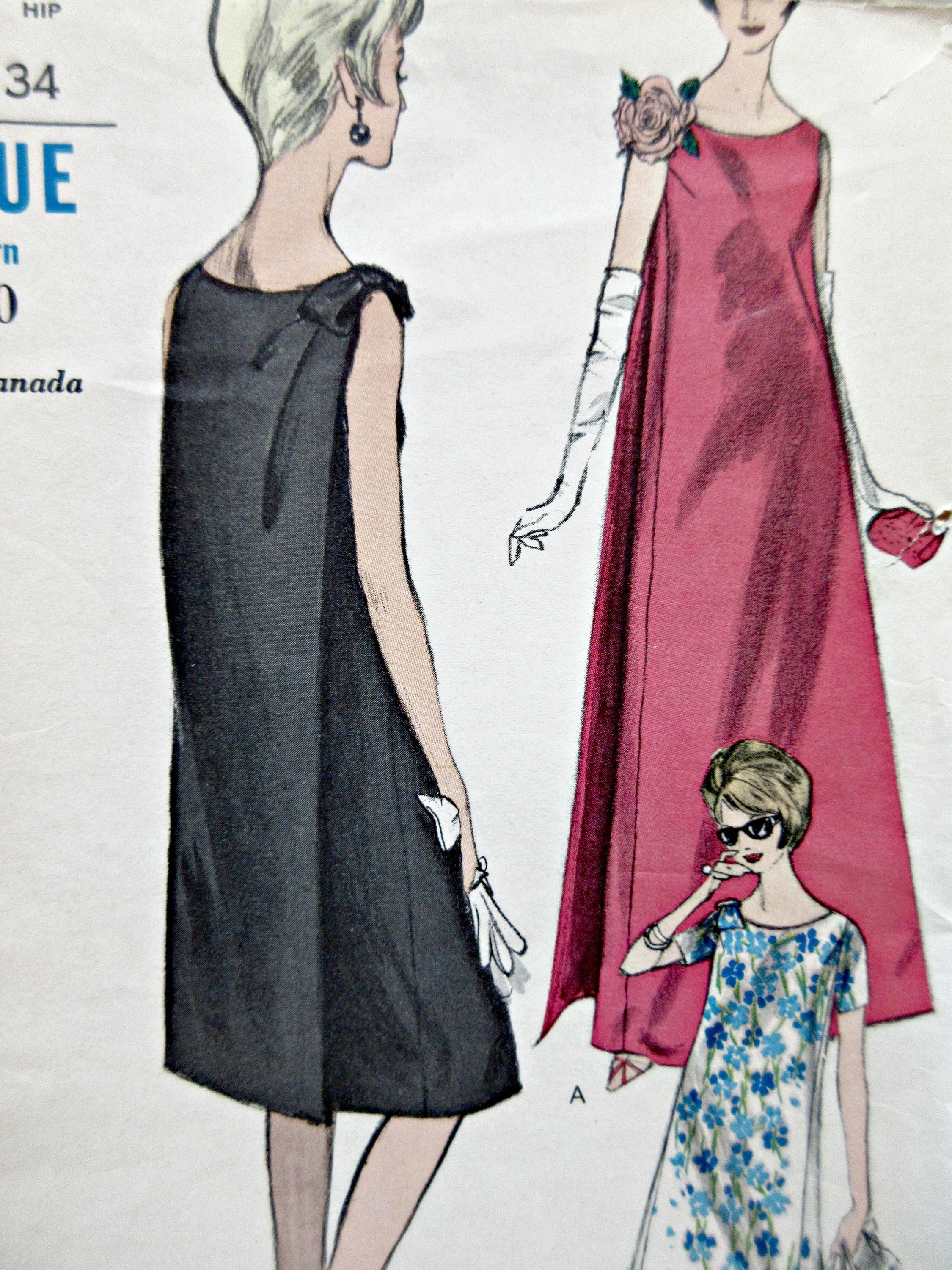 Vintage Vogue 6022 Sewing Pattern, 1960s Dress Pattern, Evening Dress,  Maternity Dress Pattern, Bust 32, Draped Back, 1960s Sewing Pattern
