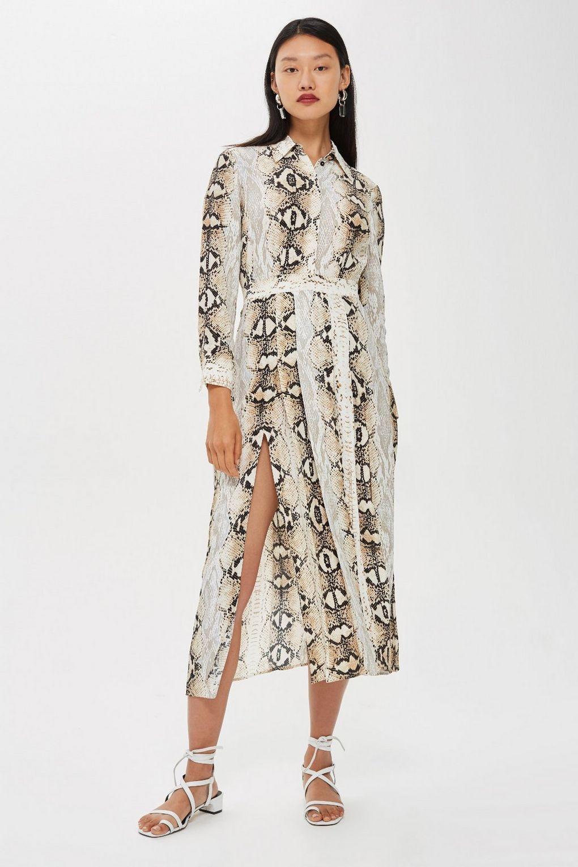 a16e1e368b1b7 Snake Print Pleated Shirt Dress - Topshop