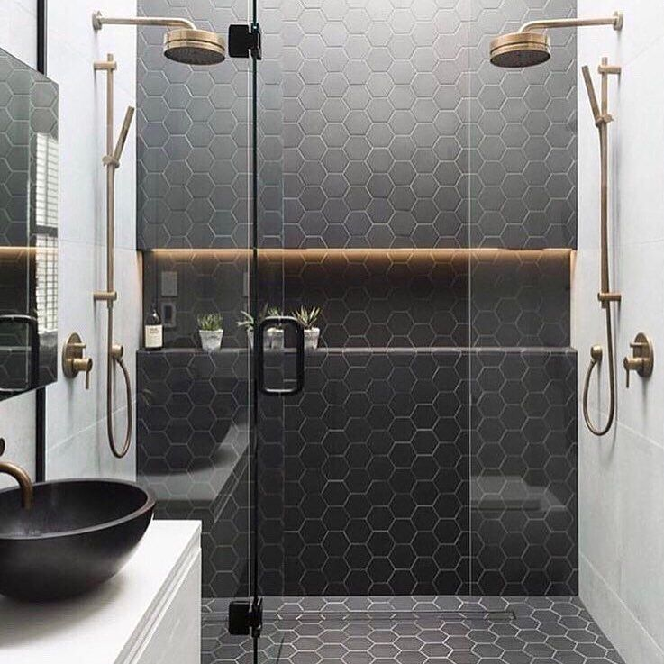 I Love The Floor Tile Running Up The Wall Bathroom Design Bathroom Interior Design Bathroom Layout