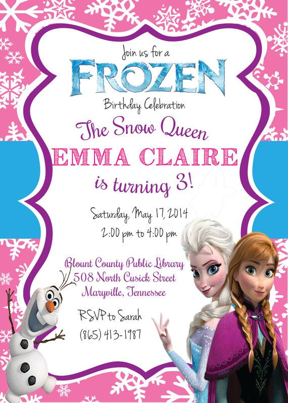 This listing is for (1) Digital Invitation customized u201cjust for you - invitation birthday frozen