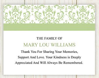 Damask Funeral Thank You Card Printable Digital File  Funeral
