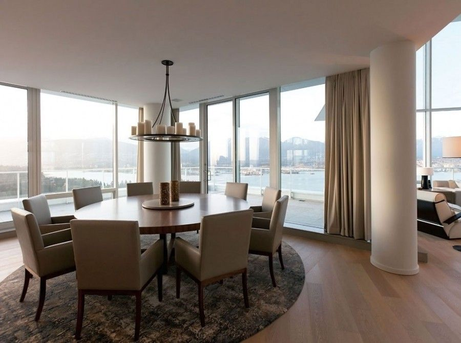Beautiful Exclusive Penthouse Apartment Dining Room With Round Amazing Apartment Dining Room Inspiration Design