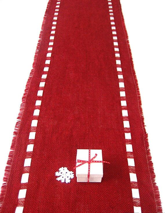 Birthday Red Burlap Table Runner With Satin Ribbon   Lush Color Table  Topper   Elegant Dining