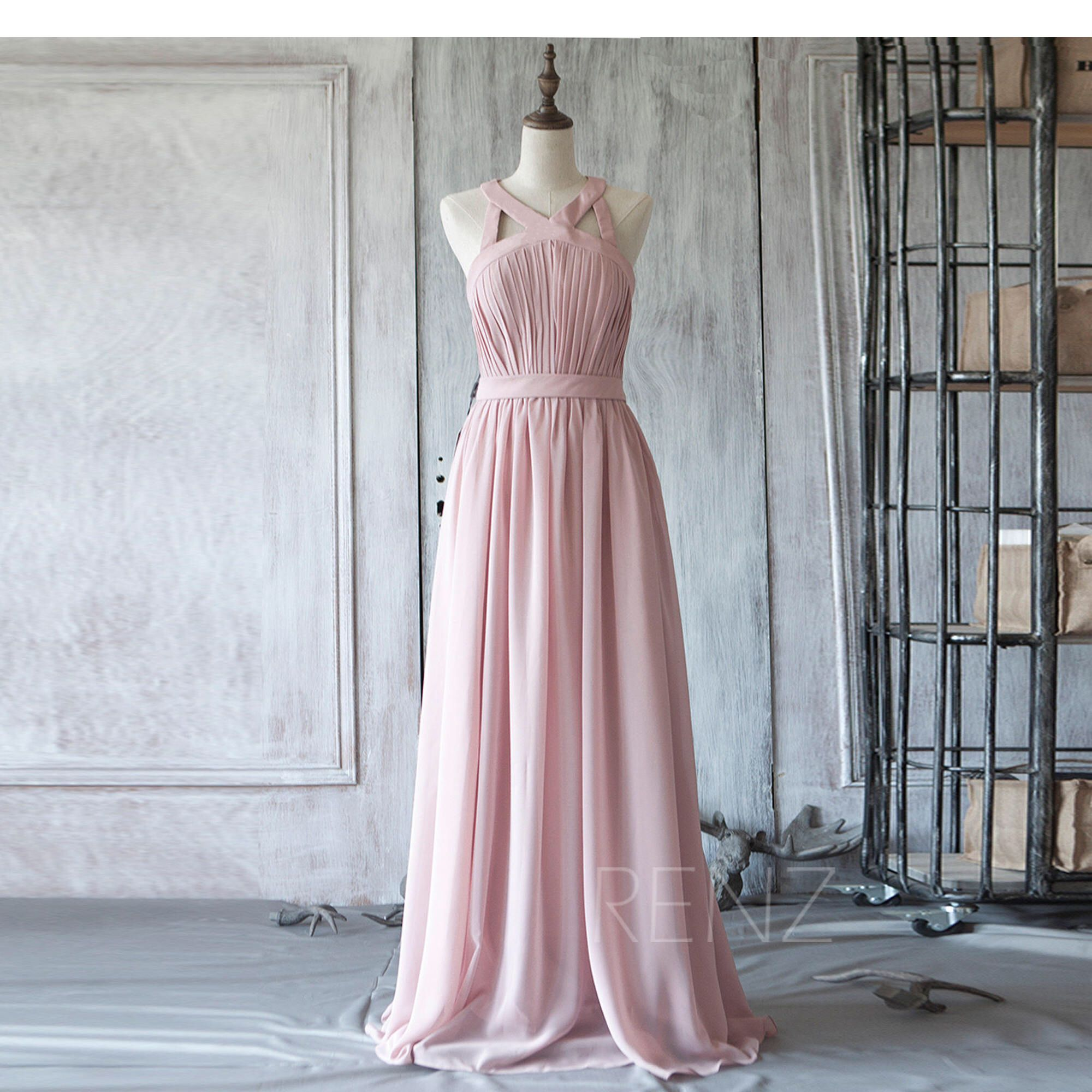Bridesmaid Dress Dusty Rose Chiffon Wedding Dress,V Neck Long Maxi ...