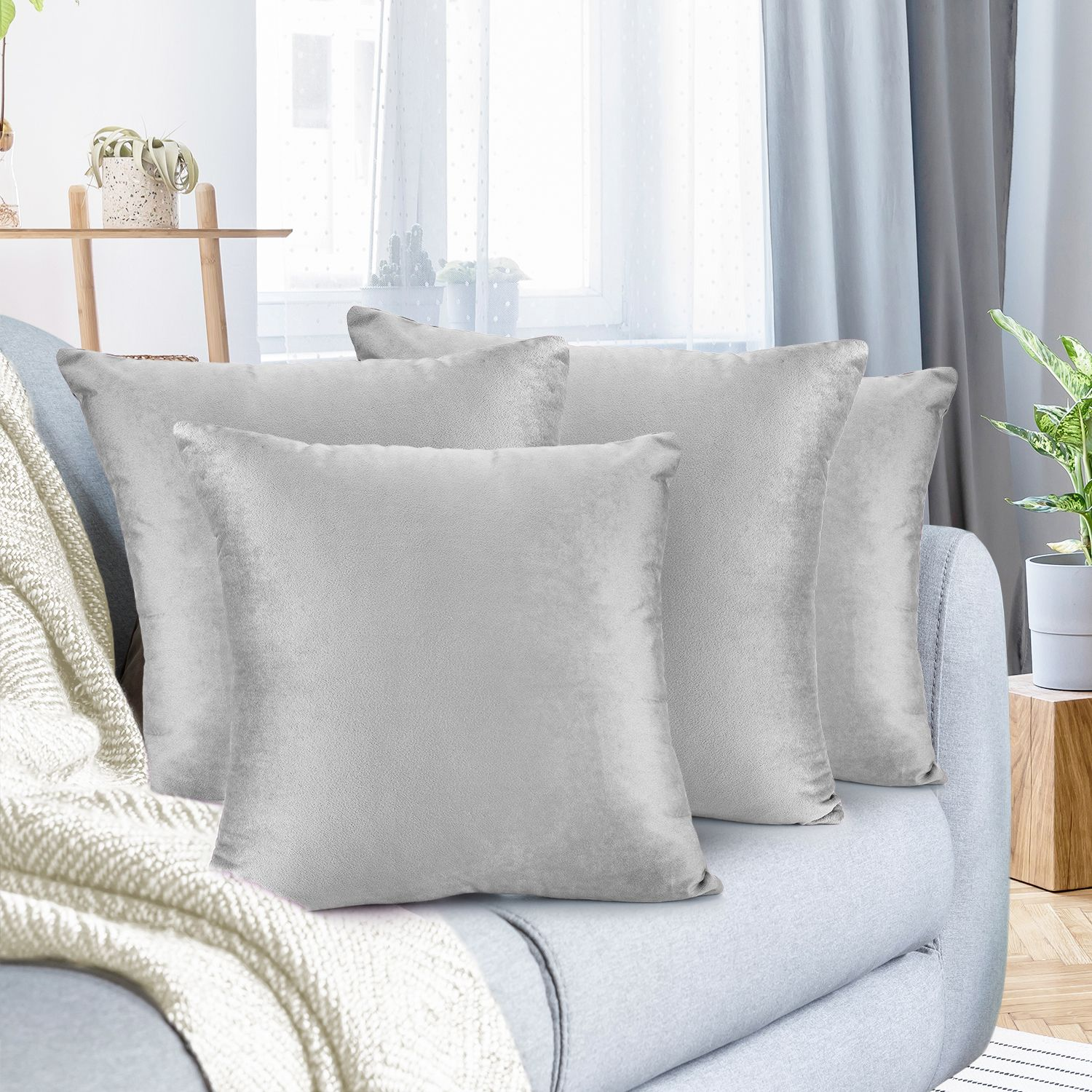 """Pack of 4 Velvet Throw Pillow Covers Decorative Soft Square Cushion Cover , 26"" x 26"""""
