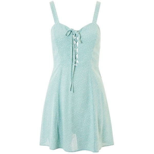 Top Spot Print Sundress 48 Liked On Polyvore Featuring Dresses Mint Green Leather Dress Mini And