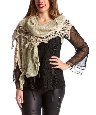 Another great find on #zulily! Caramel Crochet-Accent Linen-Blend Scarf - Women #zulilyfinds