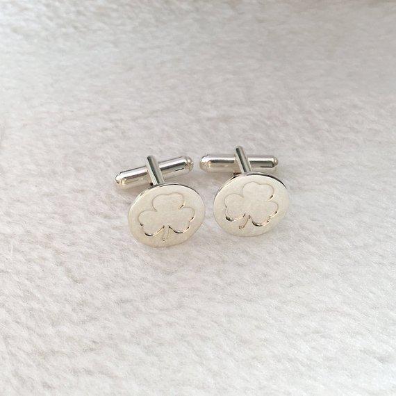 025a3df13089 Shamrock Tie Clip and Cufflinks,Wedding Cufflinks and Tie Clip Set,Engraved Cuff  Links and Tie Clip,