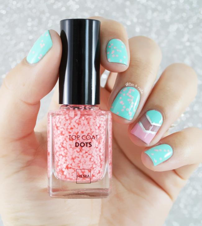 Glitter and Nails: Pois Roses et Lait Menthe avec une jolie nouveauté Hema.