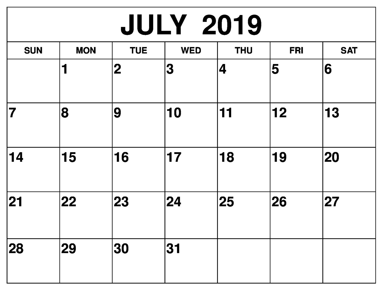 July 2019 Calendar Template Free Wincalendar Printable