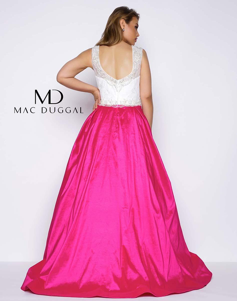 Mac Duggal Fabulouss Plus 77250F Magenta & Ivory 2-Tone Ball Gown ...
