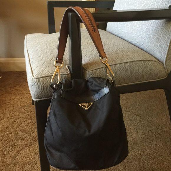 Prada black nylon bag, with leather shoulder strap | Black nylons