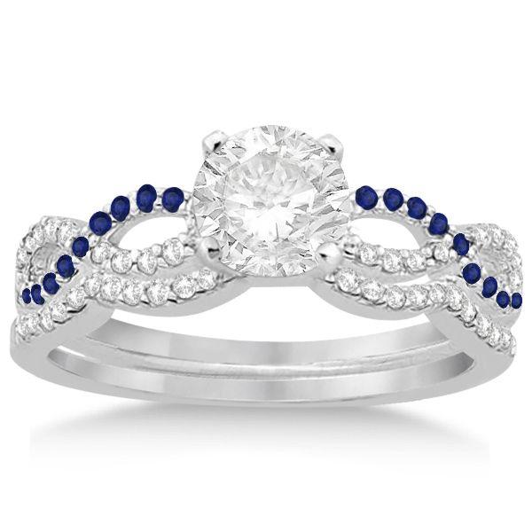 Infinity Diamond Blue Sapphire Ring Bridal Set In Palladium 034ct Allurez