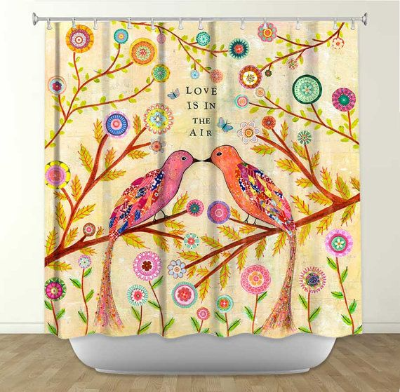 Love this!  Artistic Shower Curtains by DiaNoche Designs, Love Birds on Etsy, $89.00