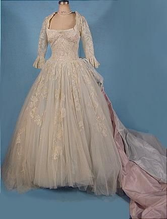 "1950s ""Colonial Style"" Designer Wedding Gown (front) 