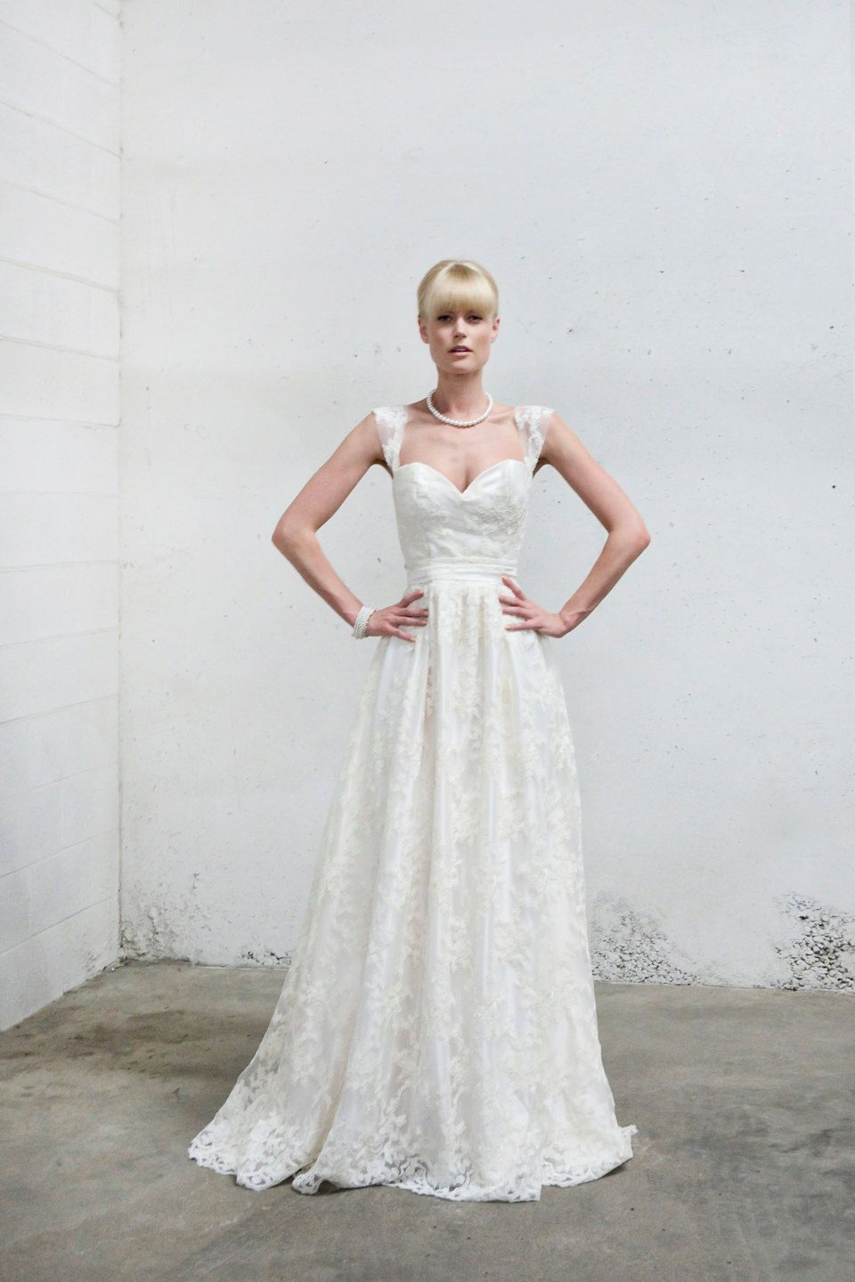 Full lace cap sleeve romantic wedding dress by shopdionne on etsy