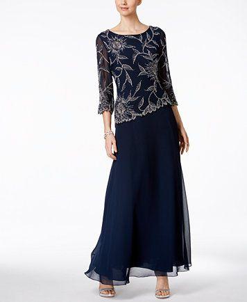 cb5f998f46d4 J Kara Hand-Beaded A-Line Gown | macys.com | Wedding & Celebration ...