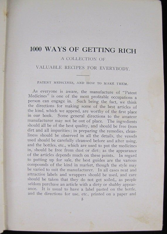 1000 Ways Of Getting Rich // 1908 Hardback // A Complete Handbook  Useful Info & Valuable Recipes //