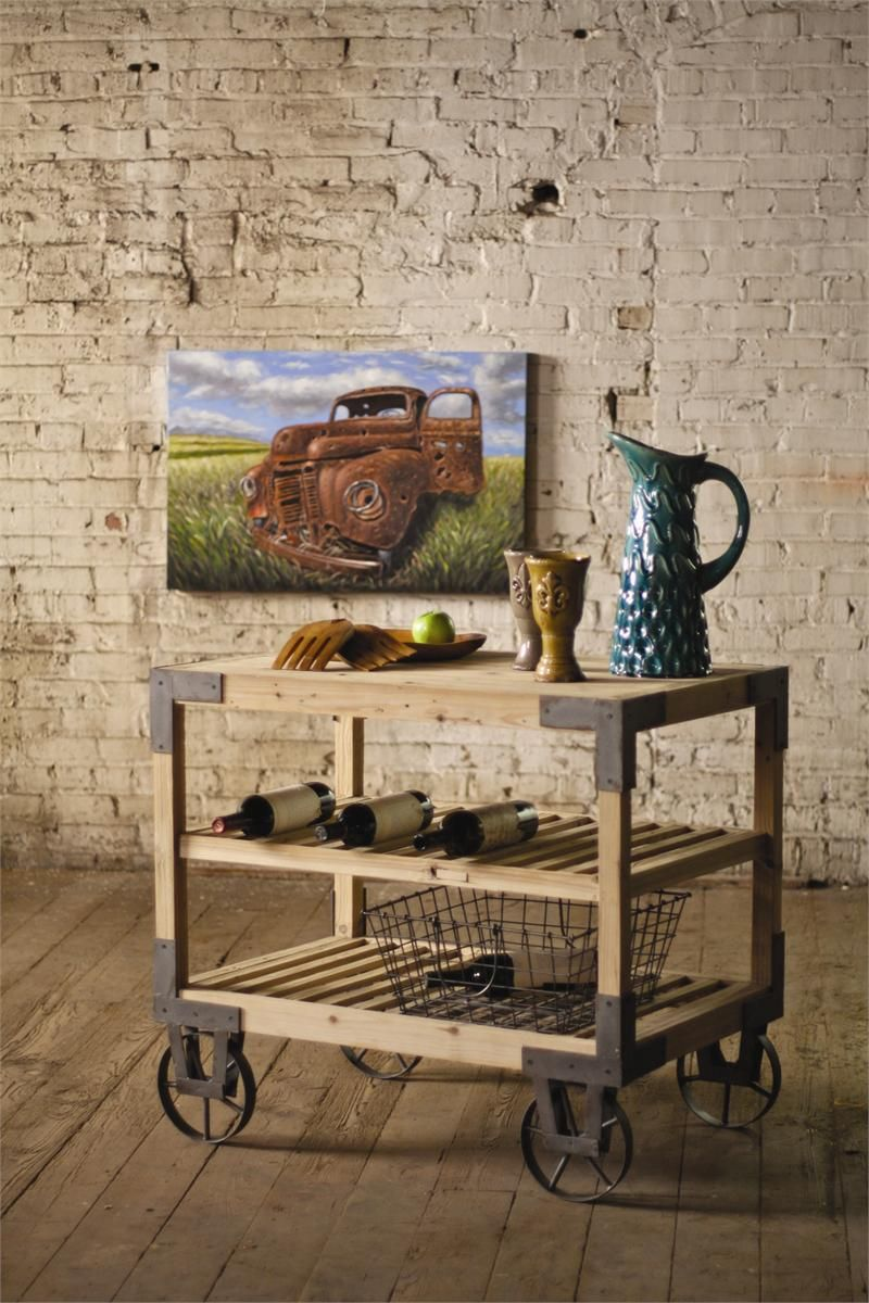 Rolling Dining Cart with Metal Casters Reclaimed Wood